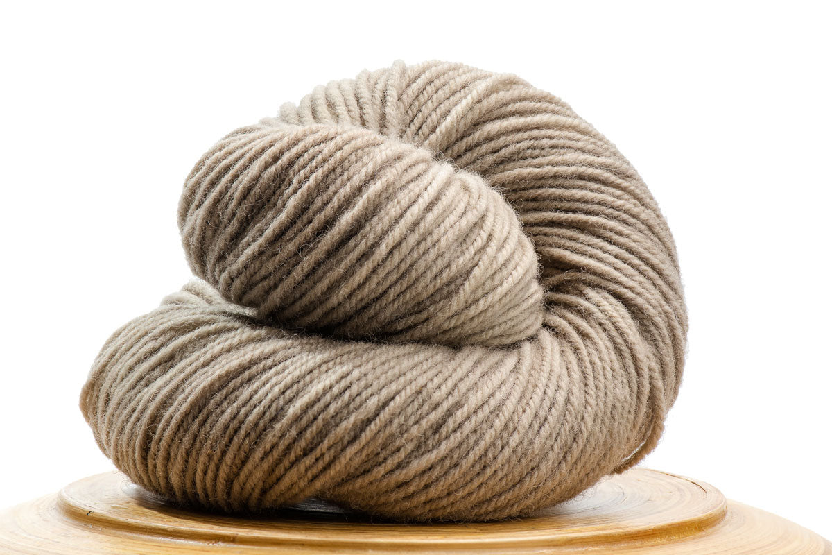 Sutton Canadian hand-dyed yarn in Shiitake, a warm pale neutral