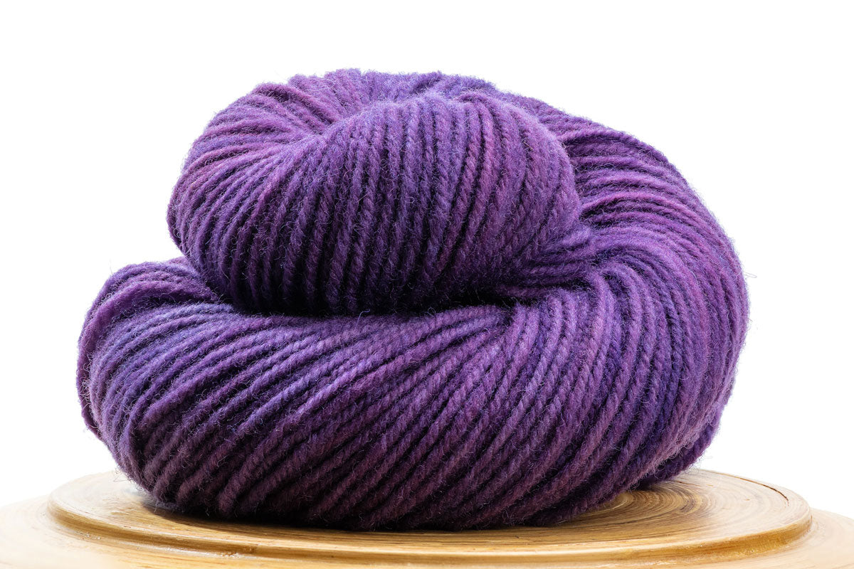 Sutton Canadian hand-dyed yarn in Wizard, a rich warm purple