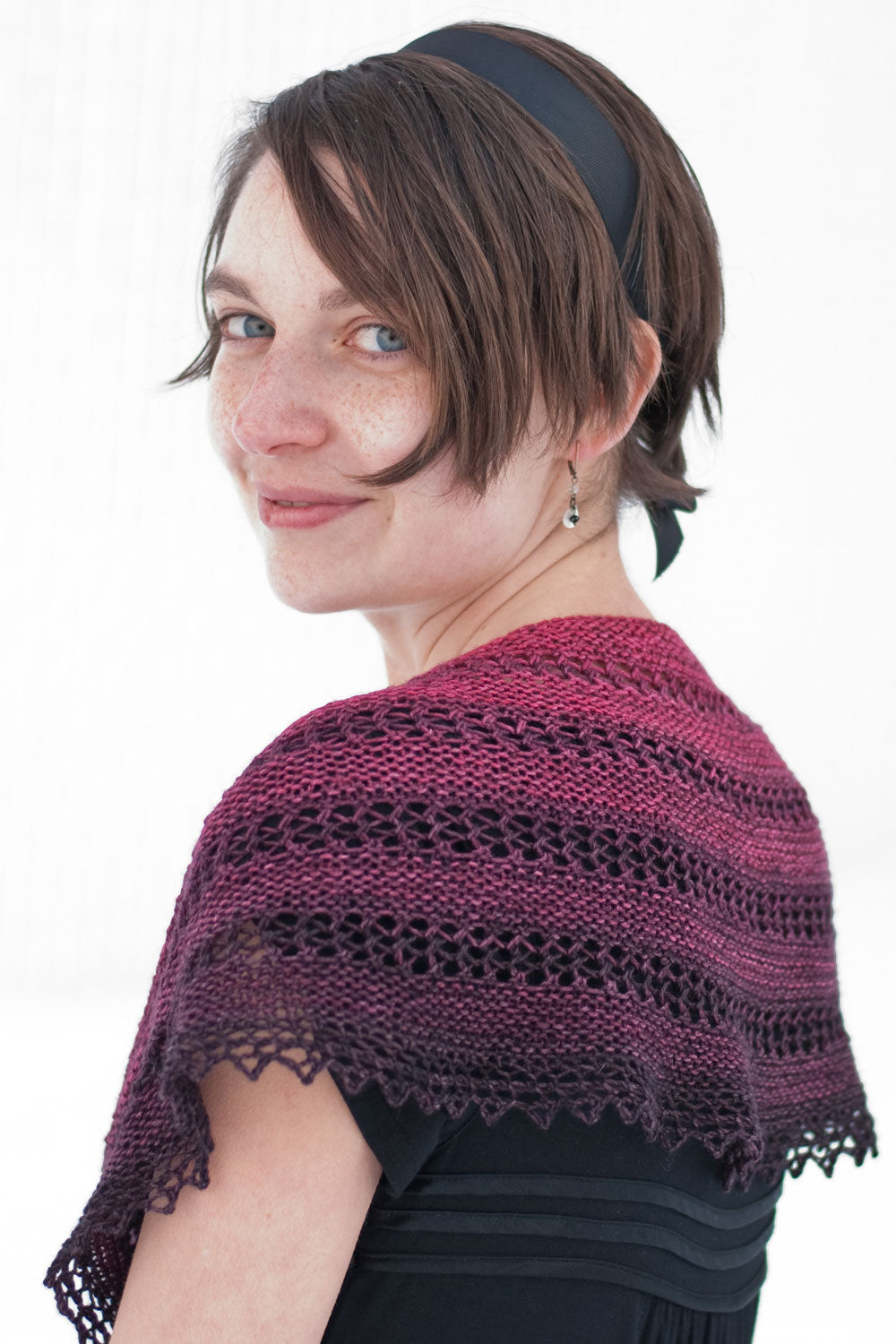 That night there were roses crescent shawlette knitting pattern