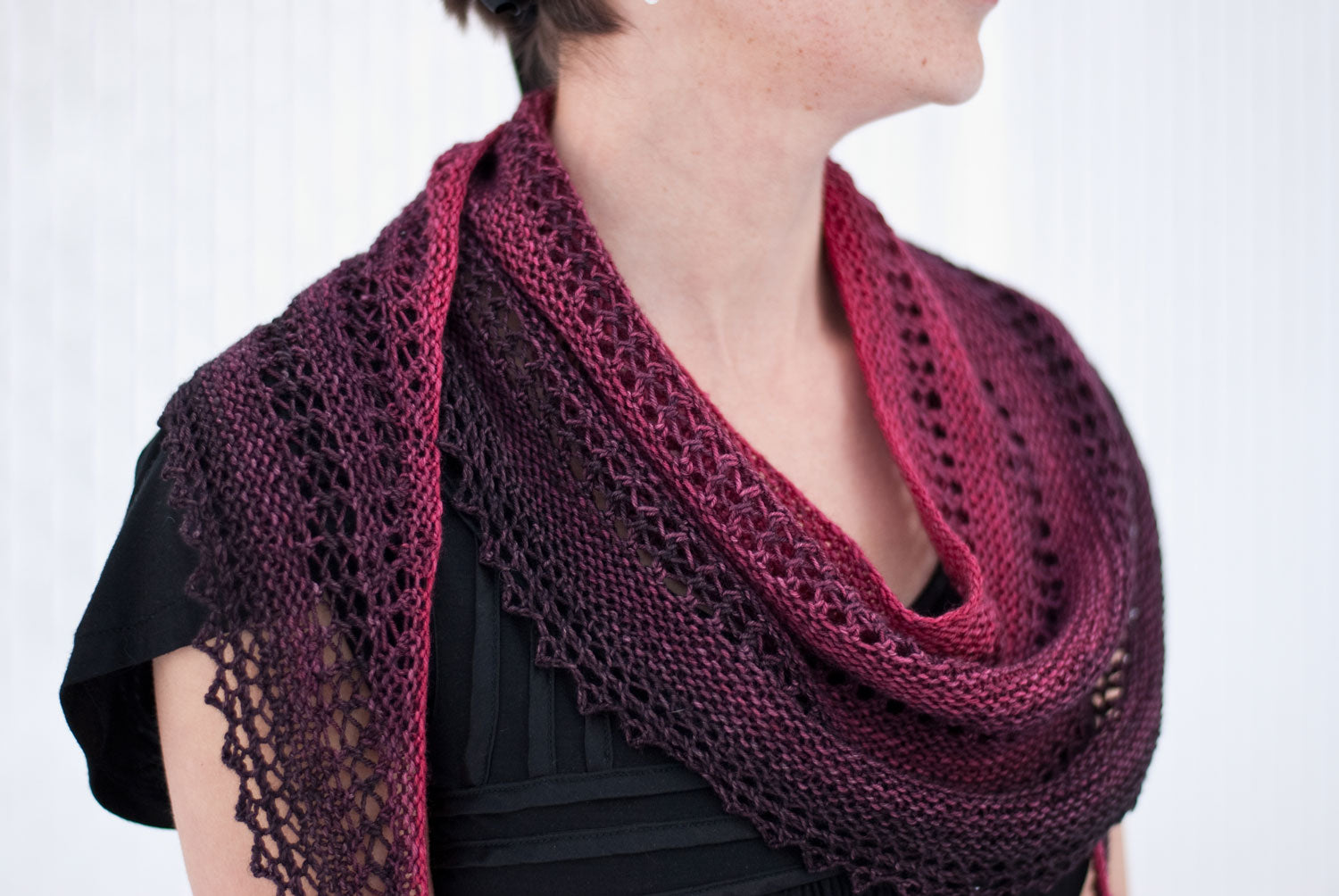 Knitting pattern using gradient mini skein sets