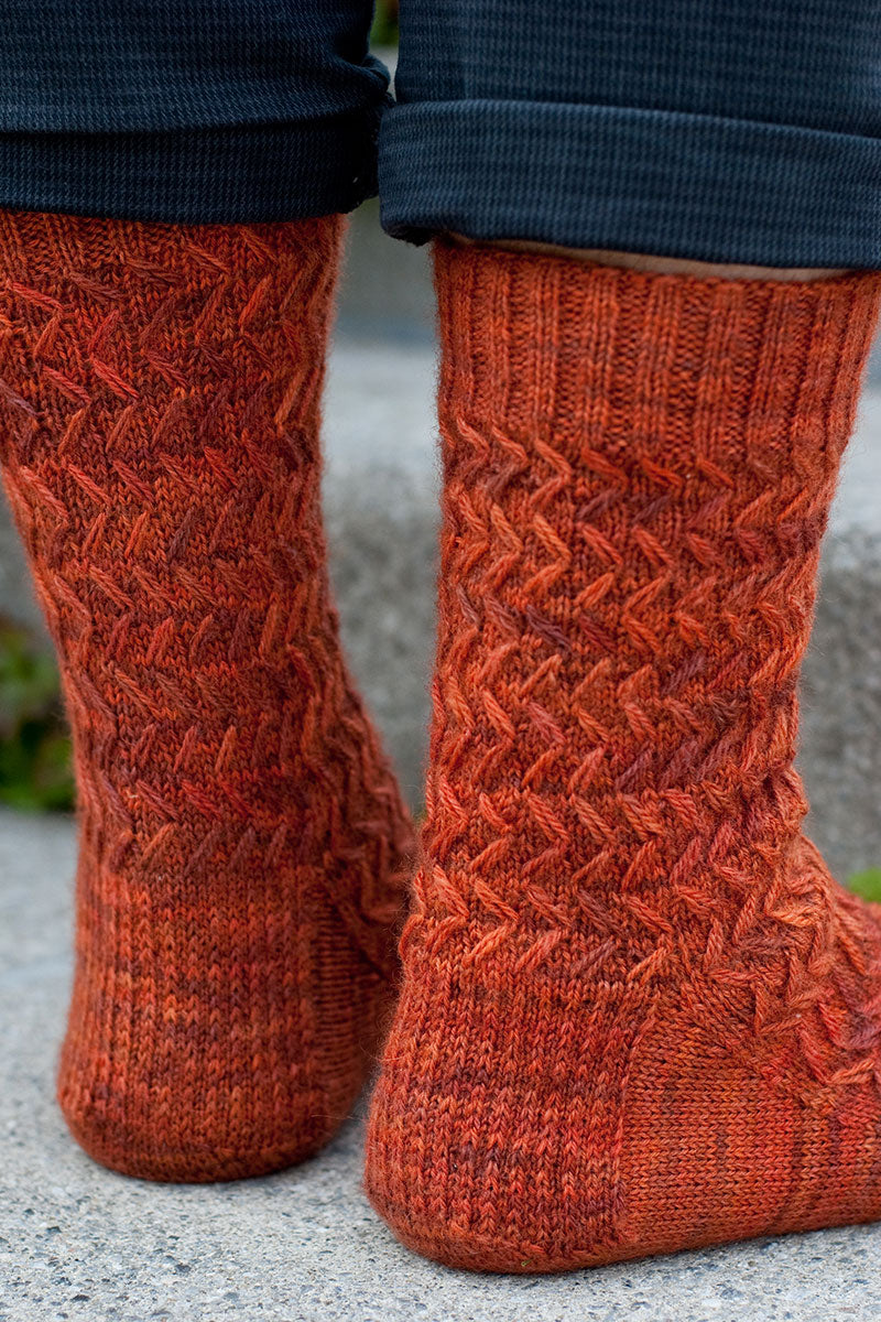 Wayfaring Stranger men's sock heel stitch detail