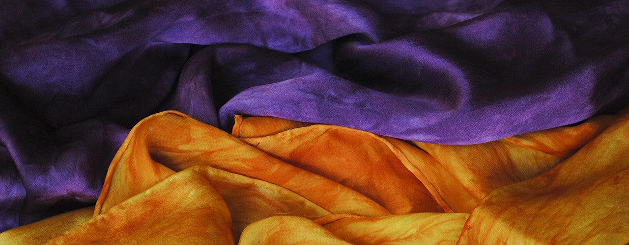 Purple and yellow hand-dyed silk scarves