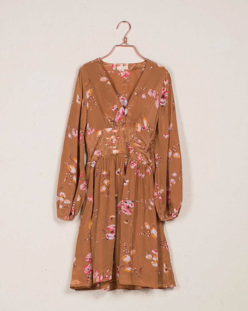 Bell Sleeve Dress Aroma Flowers