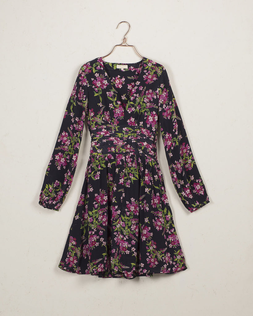 Bell Sleeve Dress Floral Blue