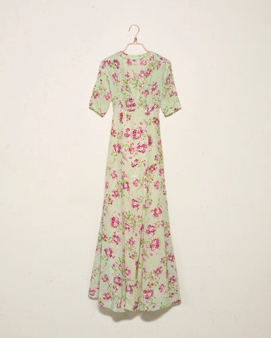 Flower Pistachio Maxi Dress