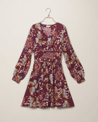 Bell Sleeve Dress Burgundy