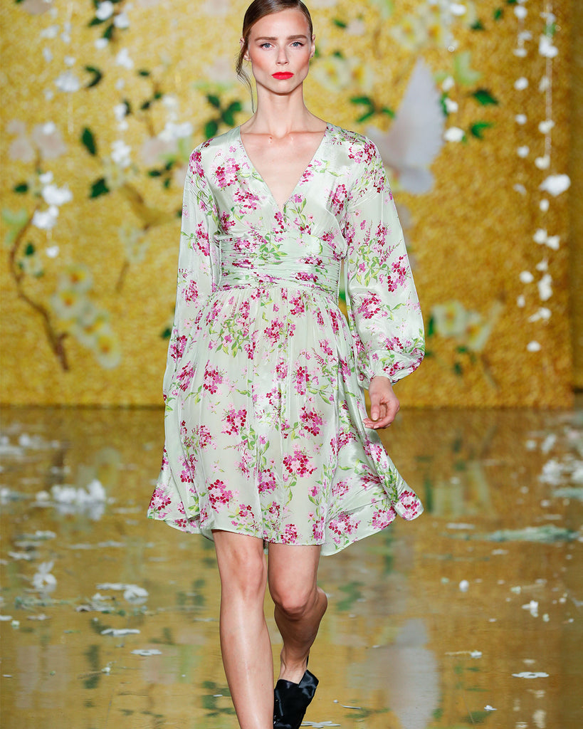 Bell Sleeve Dress Floral Pistachio