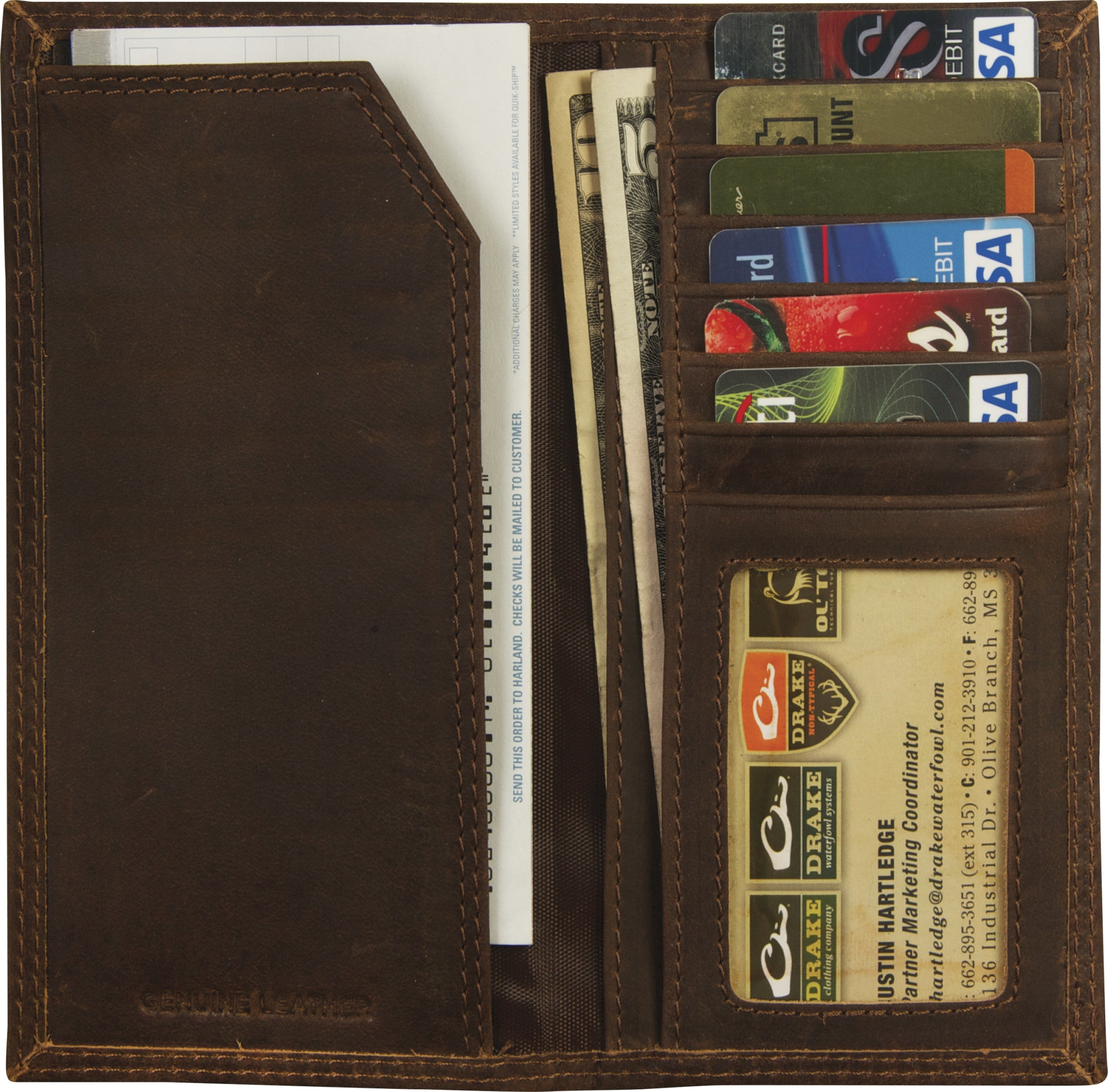 Drake Leather Checkbook Wallet