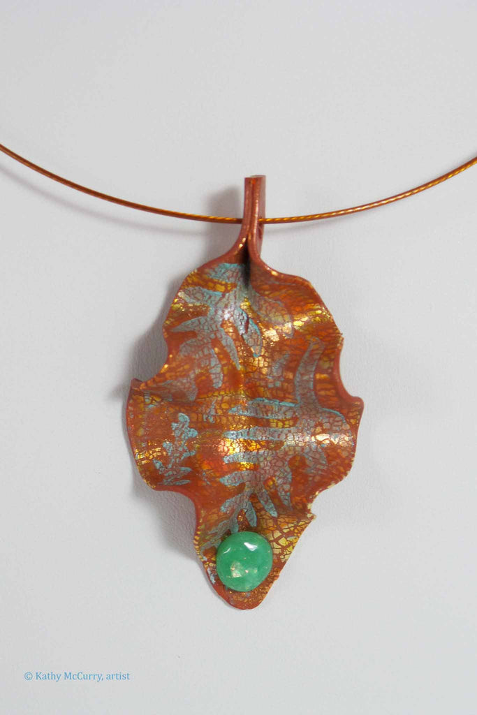 Copper and Patina with a Faux Opal Cab
