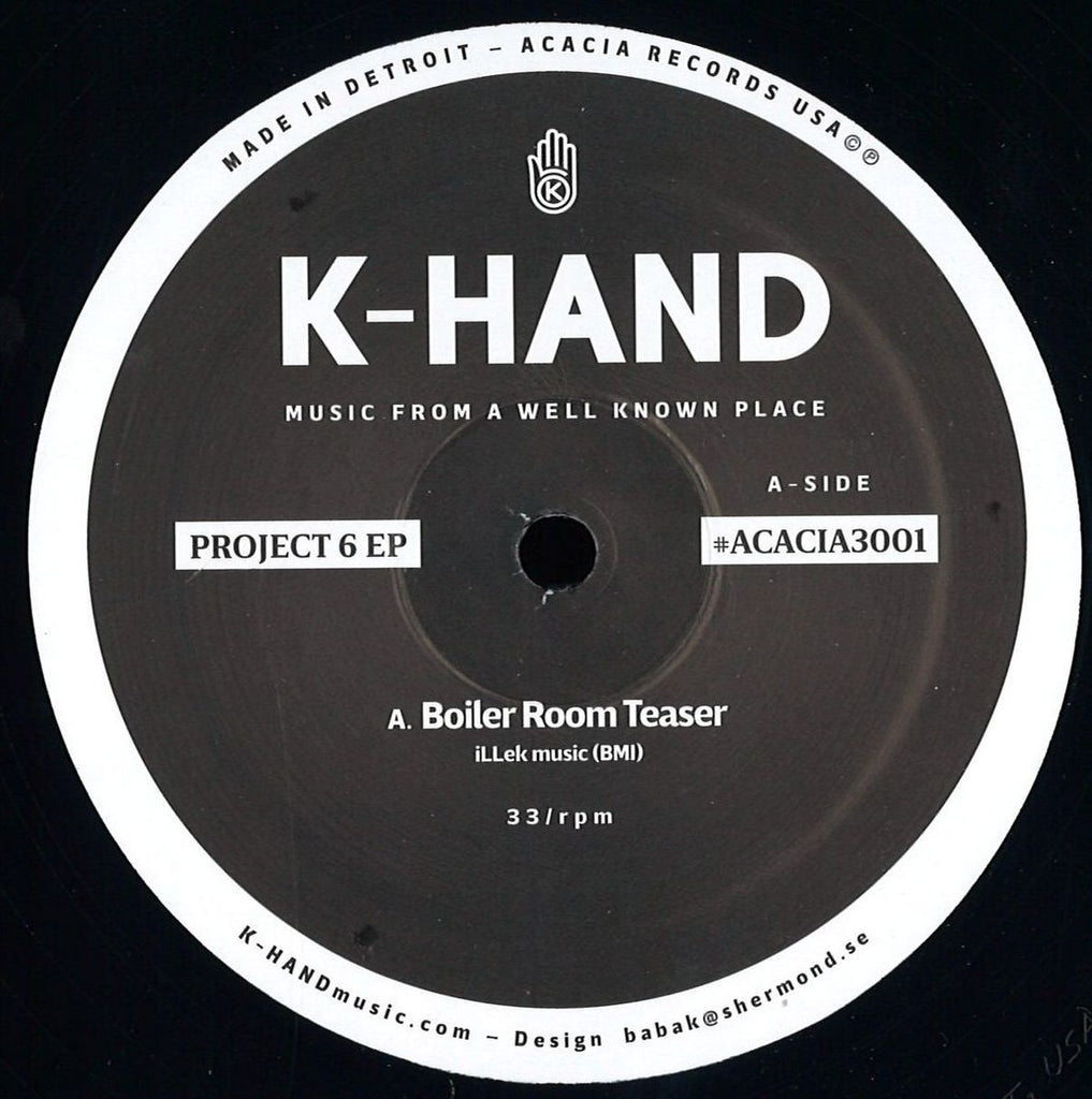 "K-Hand - Project 6 EP - 12"" - Acacia Records ‎- ACACIA3001"
