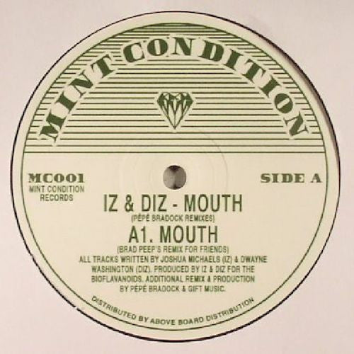 "Iz & Diz - Mouth (Pépé Braddock Remixes) - 12"" - Mint Condition - MC001"