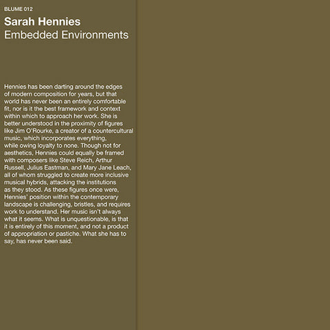 Sarah Hennies - Embedded Environments - LP - Blume - 012