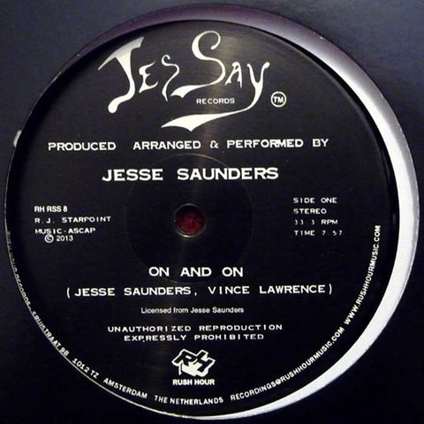 "Jesse Saunders - On and On - 12"" - Rush Hour - RH-RSS 8"