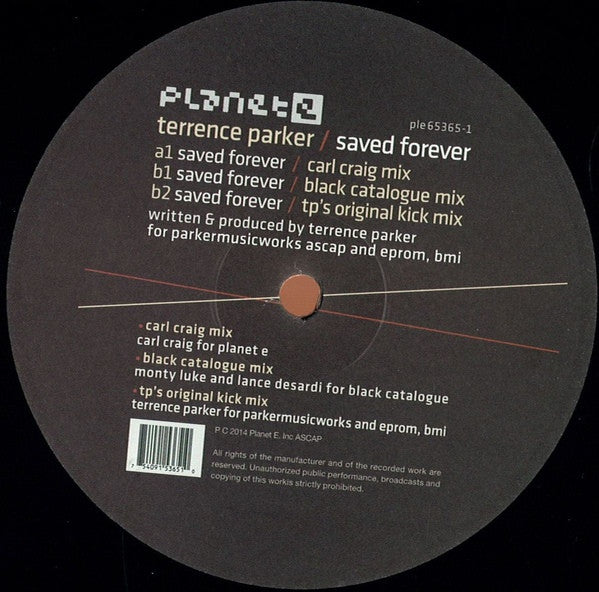 "Terrence Parker - Saved Forever - 12"" -  Planet E - ple65365-1"