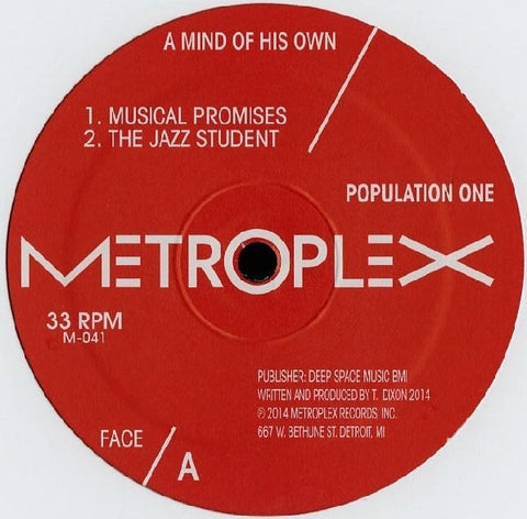 "Population One - A Mind of His Own - 12"" - Metroplex - M 041"