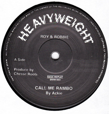 "Ackie / Chesse Roots - Call Me Rambo - 12"" - Basic Replay - BRHW-003"