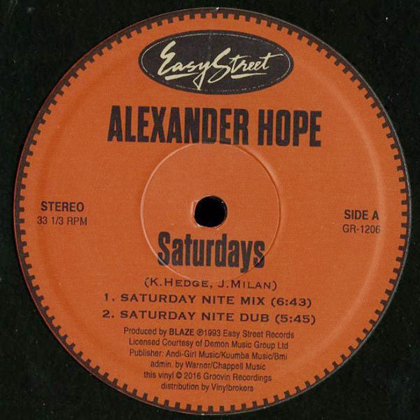 "Alexander Hope - Saturdays / Let The Music Take You - 12"" - Groovin Recordings - GR-1206"