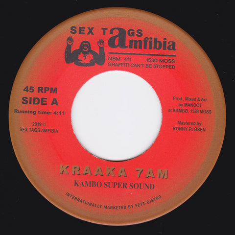"Kambo Super Sound / Don Papa meets DJ Sotofett - Kraaka 7AM / Moss Dub Fønk - 7"" - Sex Tags Amfibia - AMFIBIA 30"