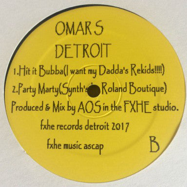 "Omar S - Hit It Bubba - 12"" - FXHE Records - AOS (696)"