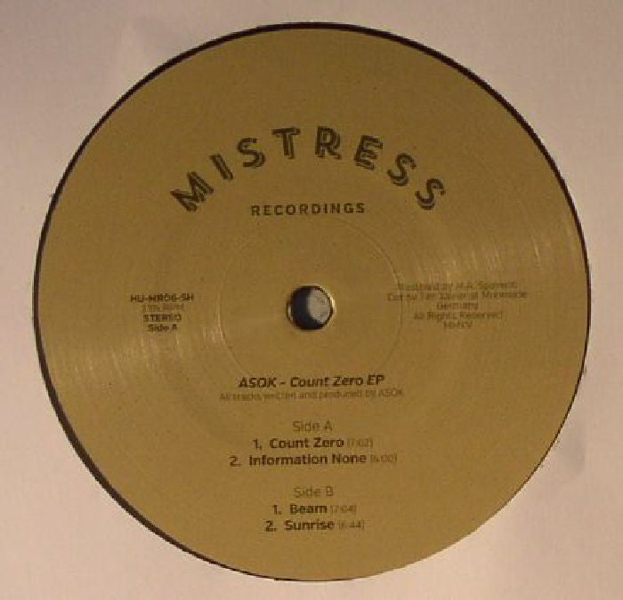 "ASOK - Count Zero EP - 12"" - Mistress Recordings - MR06"