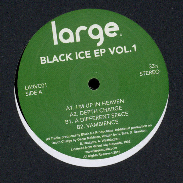 "Black Ice - Black Ice EP Vol 1 - 12"" - Large Records - LARVC01"