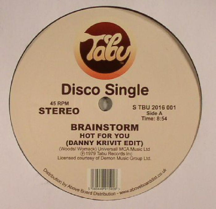 "Brainstorm - Hot For You / Journey Into The Light (Danny Krivit Edits) - 12"" - Tabu Records - STBU2016001"