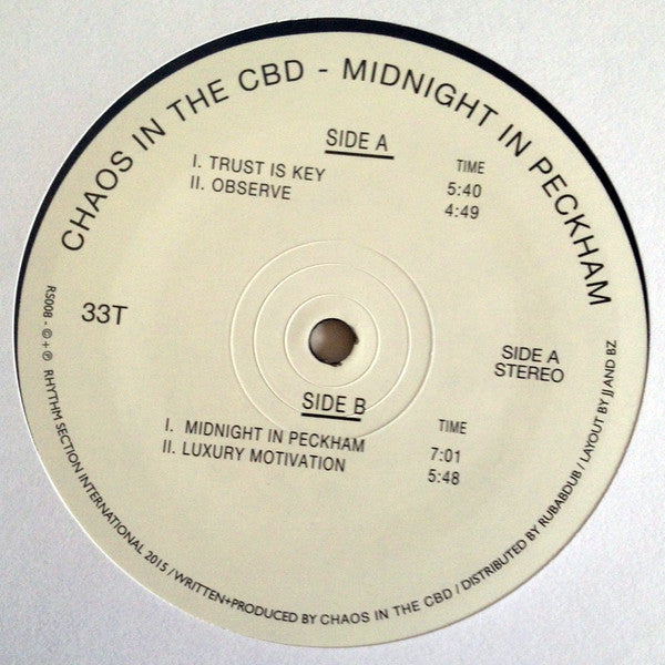 "Chaos in the CBD - Midnight in Peckham - 12"" - Rhythm Section International - RS008"