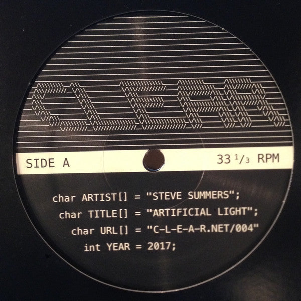 "Steve Summers - Artificial Light - 12"" - CLEAR USA - CLEAR-004"