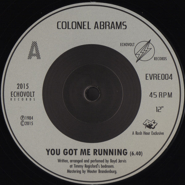 "Colonel Abrams - You Got Me Running - 12"" - Echovolt Records - EVRE004"