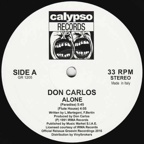 "Don Carlos - Alone - 12"" - Groovin Recordings - GR 1205"