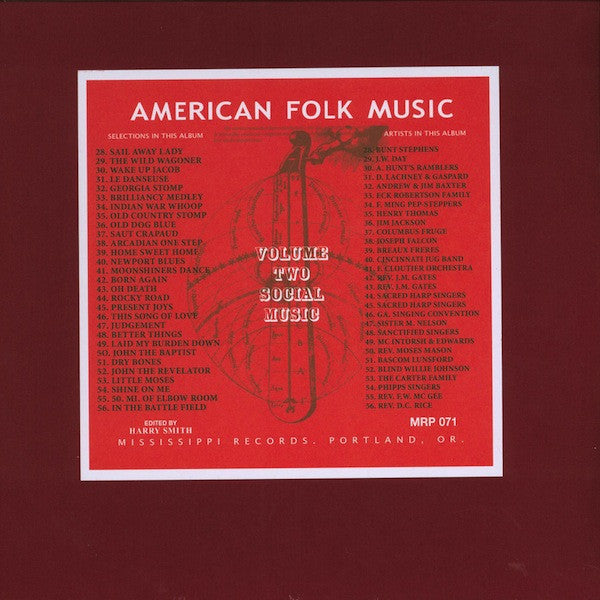 Harry Smith - Anthology of American Folk Music vol. 2: Social Music - 2xLP - Mississippi Records ‎- MRP-071