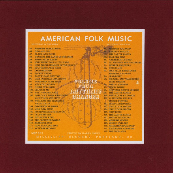 Harry Smith - Anthology of American Folk Music vol. 4: Rhythmic Changes - 2xLP - Mississippi Records ‎- MRP-073