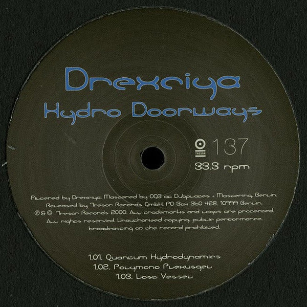 "Drexciya - Hydro Doorways - 12"" - Tresor 137"