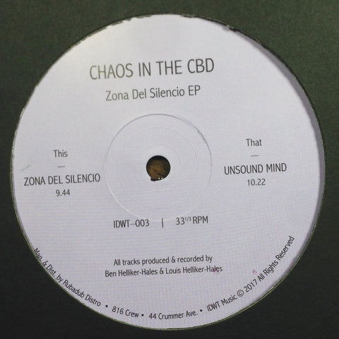 "Chaos in the CBD - Zona del Silencio EP - 12"" - In Dust We Trust - IDWT-003"