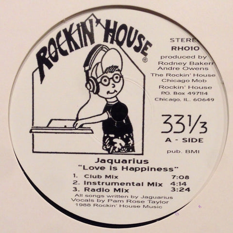 "Jaquarius - Love Is Happiness - 12"" - Rockin' House - RH010"