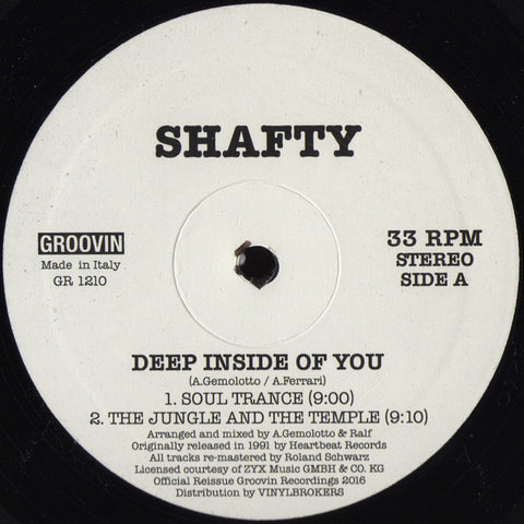 "Shafty - Deep Inside Of You - 12"" - Groovin Recordings - GR 1210"