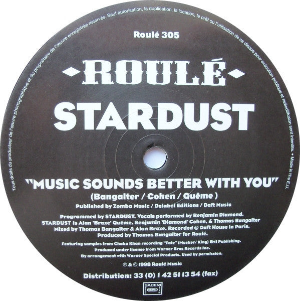 "Stardust - Music Sounds Better With You - 12"" - Roulé 305"
