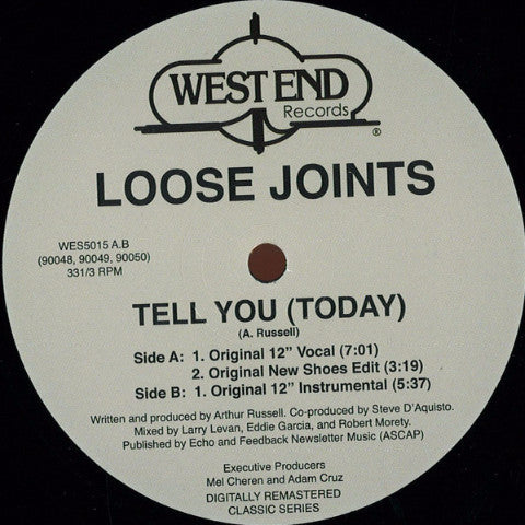 "Loose Joints - Tell You (Today) - 12"" - West End Records - WES5015"