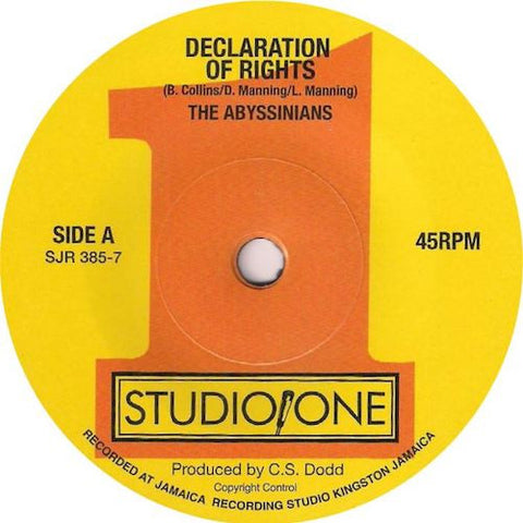 "The Abyssinians - Declaration of Rights - 7"" - Soul Jazz Records - SJR385-7"