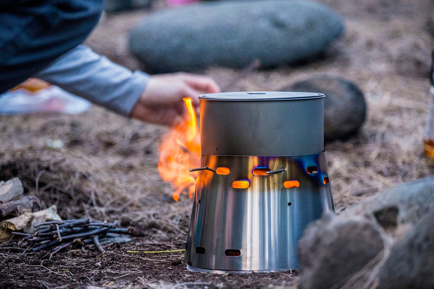 Amelia Sandy beach camping in a valley on the Big Island of Hawaii. Used the stove in wood burning mode for 4 hours straight, cooked everyone's food and drinks on it while their stoves stayed in their packs! Already have two friends asking for links to your website!