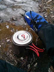 Iris Hartshorn sends us this picture of her Sidewinder and Evernew 600 cooking dinner in freezing weather and 30+ mph winds after ice climbing just outside Healy, Alaska!