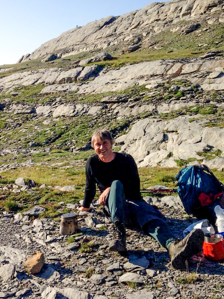 John Dawe sends us this picture of another tea break (they are English after all!) en route from the Refugio Goriz (2200m) to the Brecht de Rolande (2800m)