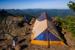 "Dudley Chelton sends us this shot of the Caldera and his campsite near Mt. Jefferson. He notes: ""With my prior alcohol stove system, I'd have had to descend down into the trees to find a place out of the wind to cook dinner and breakfast. With the Caldera Cone windscreen, the alcohol stove didn't even know the wind was blowing on the summit."""