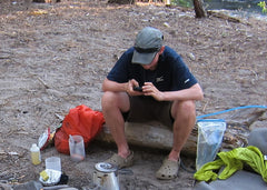 "Here's Erin Saver <a href=""http://www.walkingwithwired.com/p/home-page.html"">(Walking With Wired)</a> cooking up dinner on the PCT"