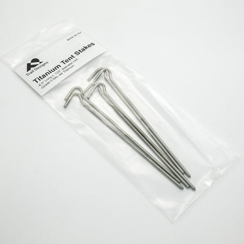 "Trail Designs Titanium 6.5"" Shepherd Hook Tent Stakes - 6 PACK!"