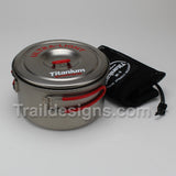 Evernew 1.3L Titanium Ultra Light Pot closed ready for stuff sack