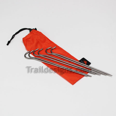 "Ultralight Toaks Titanium 6.5"" Shepherd Hook Tent Stakes - 6 PACK!"