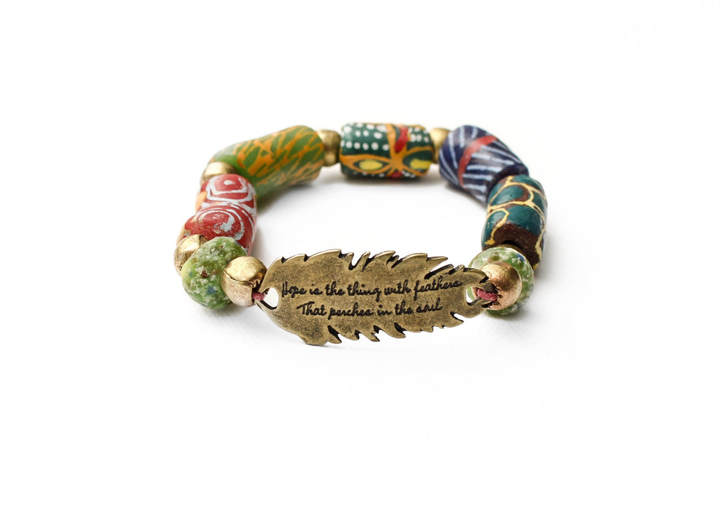 "Emily Dickinson ""Hope is the thing with Feathers"" Inspirational Krobo bracelet"