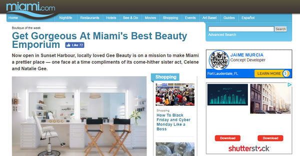 Gee Beauty featured in Miami.Com