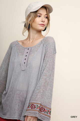 Waffle Top with Embroidered Bell Sleeves